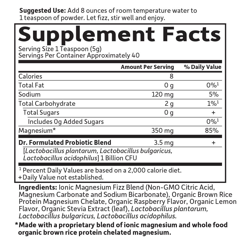 Dr  Formulated Magnesium Raspberry Lemon (198 4g Powder)